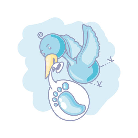 cute stork flying and diaper with footprint baby vector illustration design