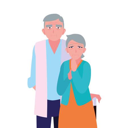 happy grandparents day - adorable couple grandpa and grandma vector illustration