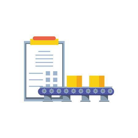 Banda de producción industrial con lista de verificación, diseño de ilustraciones vectoriales