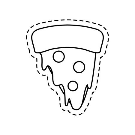 patch of delicious pizza fast food vector illustration design