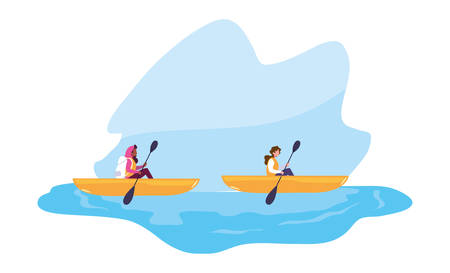 two women in the boat rowing travel vector illustration