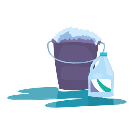 bucket bleach bubbles cleaning products and supplies vector illustration