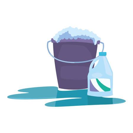 emmer bleekmiddel bubbels schoonmaakproducten en benodigdheden vectorillustratie Vector Illustratie