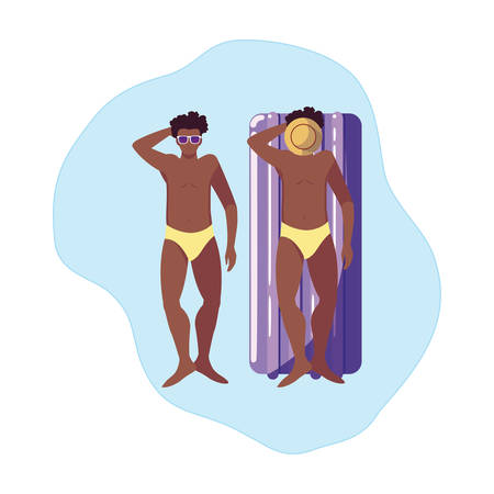 afro men with swimsuit and float mattress in water vector illustration design  イラスト・ベクター素材