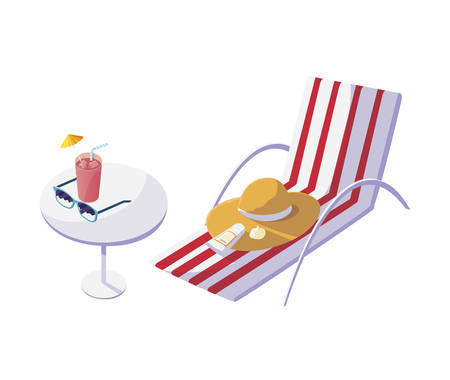 summer beach chair with hat and cocktail vector illustration design