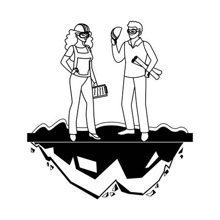 female builder constructor worker with architect boss vector illustration design Vectores