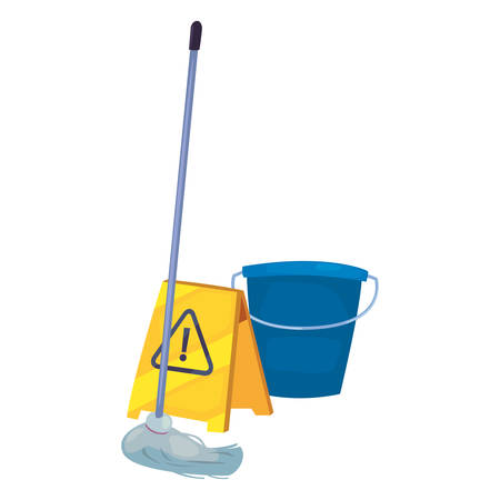 bucket mop and sign warning cleaning products and supplies vector illustration