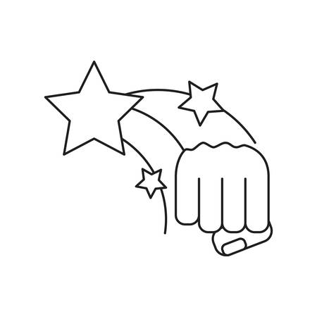 hand fist power with stars isolated icon vector illustration design Ilustração