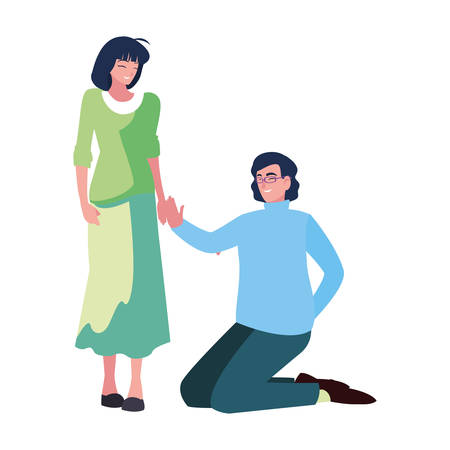 man on his knees proposal woman vector illustration