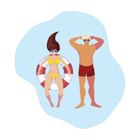 young couple with swimsuit and float in water vector illustration design Illusztráció