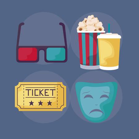 set icons cinema vector illustration design
