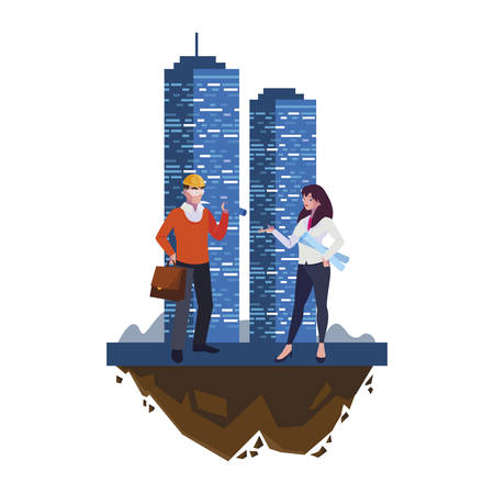architect builder with female engineer and building vector illustration design Imagens - 134051926