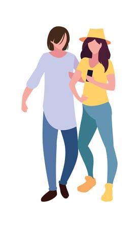 young man and woman using smartphone social media vector illustration Illusztráció