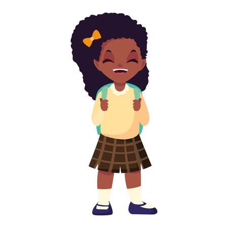 happy school girl with uniform on white background vector illustration Stock Illustratie