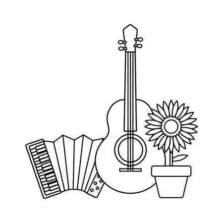 accordion with guitar and sunflower vector illustration design