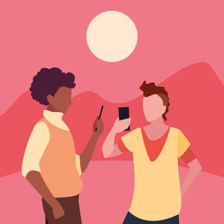 two men using smartphone social media vector illustration