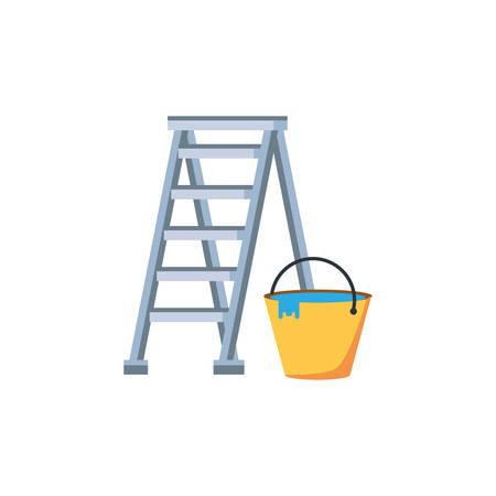 Ladder design, under construction work repair progress reconstruction industry and build theme Vector illustration