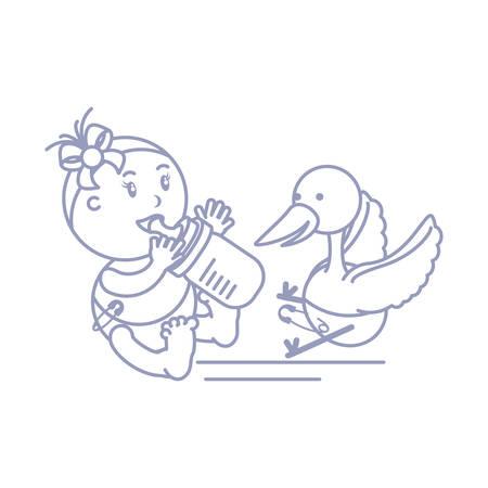stork and cute baby girl with bottle milk vector illustration design Stock Illustratie