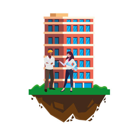 afro male builder with female engineer with building vector illustration design Imagens - 134051940