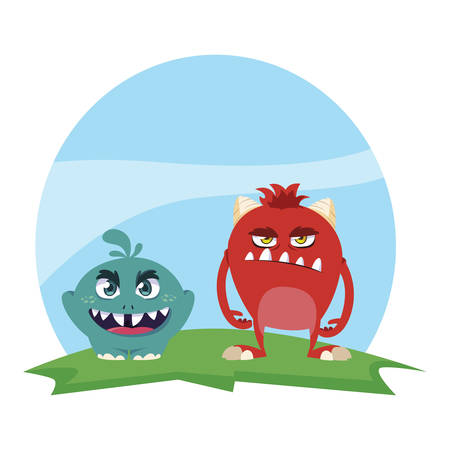 funny monsters couple in the field characters colorful vector illustration design Ilustracja