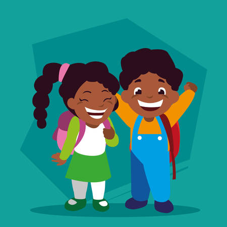 couple of students with school supplies, back to school vector illustration design