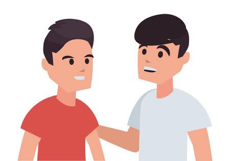 happy boys back to school flat design vector illustration