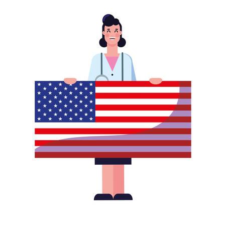 happy labor day - female doctor american flag vector illustration Archivio Fotografico - 134027110