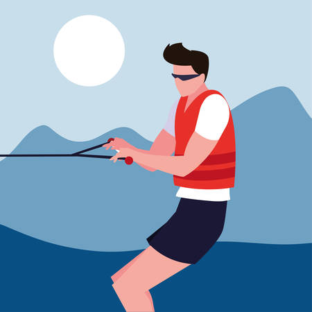 man skiing water extreme sport and lifestyle vector illustration