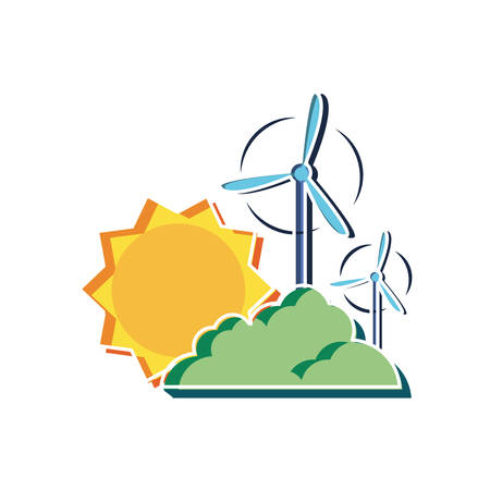 Wind mill design, Sustainability eco friendly green recycle ecology renewable and solution theme Vector illustration