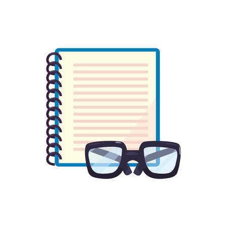 notebook and glasses back to school vector illustration