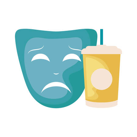 container beverage with theater mask vector illustration design Иллюстрация