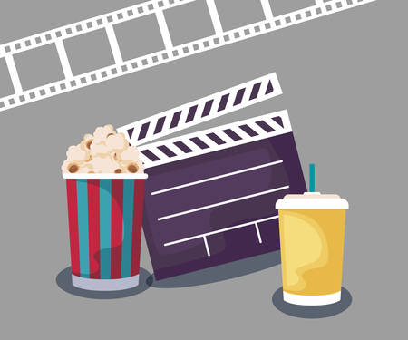 clapboard cinema with popcorn and drink vector illustration design