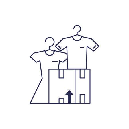 box carton with shirt and dress vector illustration design 일러스트