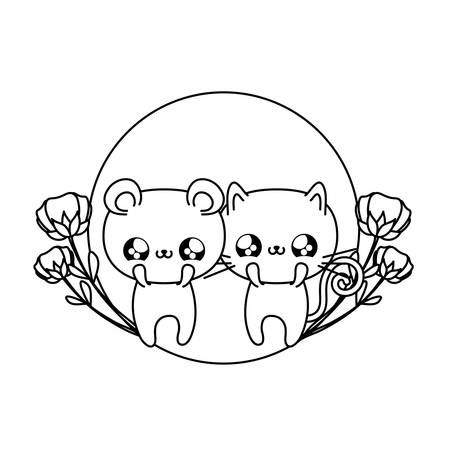 cute cat with bear baby animals vector illustration design Ilustrace