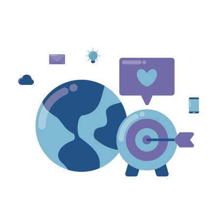 social media marketing with planet earth vector illustration design Illustration