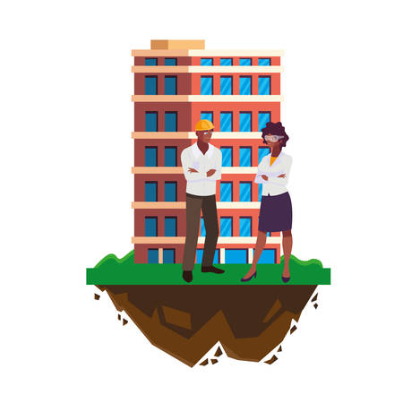 afro male builder with female engineer with building vector illustration design Imagens - 134051331