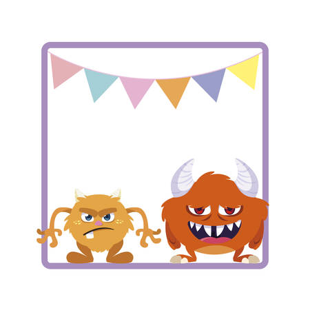square frame with funny monsters and garlands hanging vector illustration design Ilustracja
