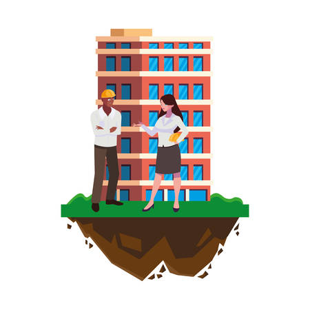 afro male builder with female engineer with building vector illustration design Imagens - 134051778