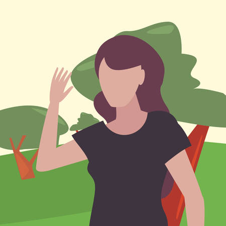 woman in the park tree nature vector illustration