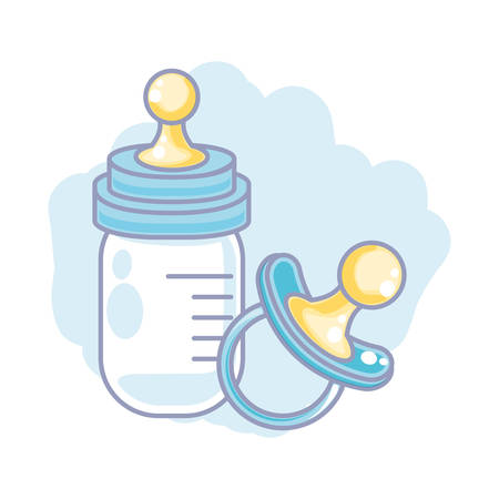 cute bottle milk with pacifier baby vector illustration design
