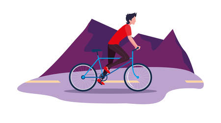 man riding bicycle activity outdoors scene vector illustration Illustration