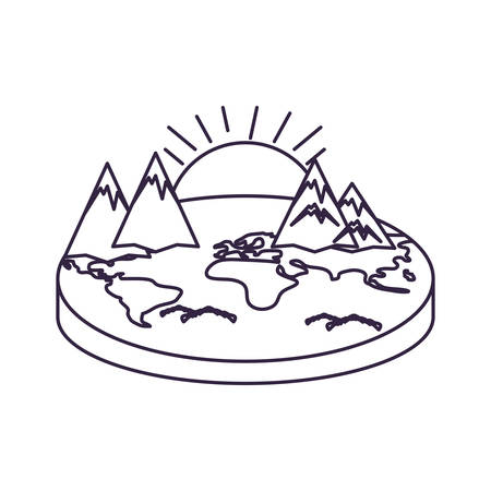 world planet earth maps with sun vector illustration design