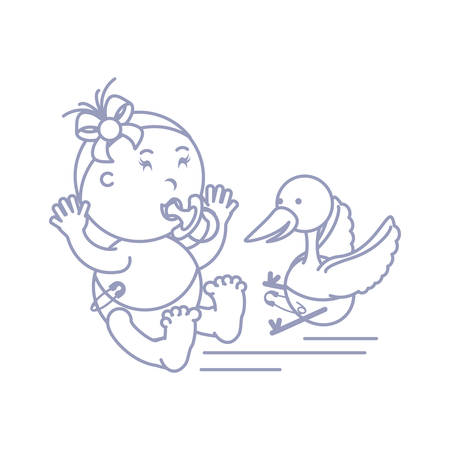stork and cute baby girl with pacifier vector illustration design