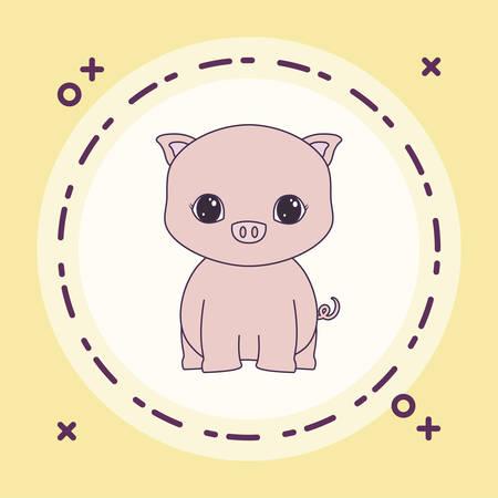 cute piggy animal in frame circular vector illustration design