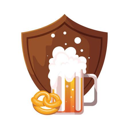 mug of beer with pretzel in white background vector illustration design