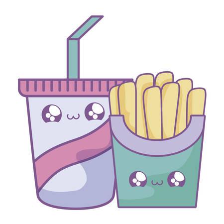 fresh french fries with drink style vector illustration design Ilustração