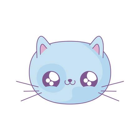head of cute cat baby animal style vector illustration design