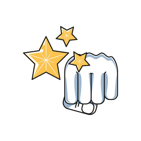 hand fist power with set of stars vector illustration design