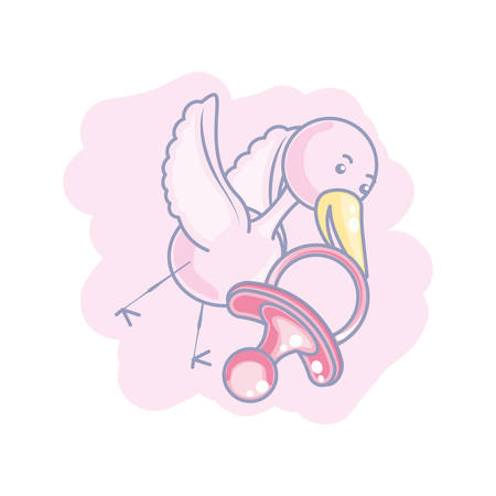 cute stork flying with pacifier baby vector illustration design Illustration