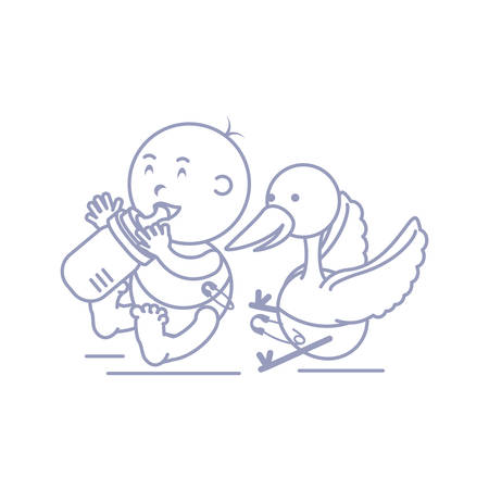 stork and cute baby boy with bottle milk vector illustration design
